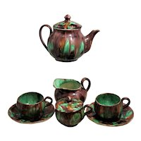 Green Brown Tea Service 9 Piece  Cream Sugar Tea Pot  2 Cups Oaxaca Pottery Mexico Dripware