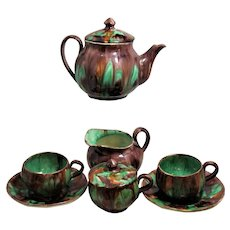 Green Brown Tea Service 9 Piece  Cream Sugar Tea Pot  2 Cups Oaxaca Pottery Mexico Dripware