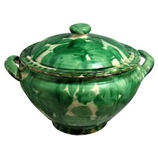 Green 2 Piece Covered Round Bean Pot Casserole Oaxaca Pottery Mexico Drip Ware