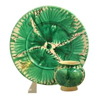 Set 2 Pieces Plate and Matching Bowl Green Daisy Flowered Beautiful Vintage Mexican Majolica Glazed Redware Pottery