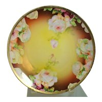 Pink Roses Austrian Porcelain Plate Artist Signed Goerges by O E and G