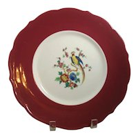 Syracuse China Dinner Plate  Red Band Bird & Floral Chinosoire