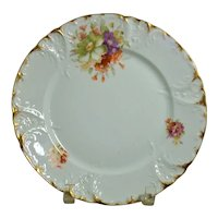 CT Germany Carl Tielsch Plate Hand Painted Floral Design Gold Scalloped Edge