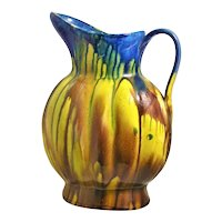 Mexican Bulbous Pitcher Drip Ware Yellow Blue Brown