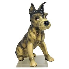 "Large Schnauzer Ceramic Dog by Goebel 11"" Germany"