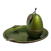MCM Evans Enamel Pear and Tray Avocado Green Lighter and Decorative Ash Tray