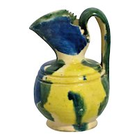 Mini Yellow Blue Pitcher  Oaxaca Pottery Mexico Drip Ware