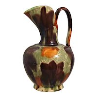 "8"" Orange Brown Pitcher Oaxaca Pottery Mexico Drip Ware"