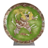 Samurai Warrior 19th Century Earthenware Japanese Satsuma Charger Wall Plate