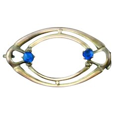 Oval Mini  Pin Vintage Blue Stones Bar Curly Que Detail 1880's