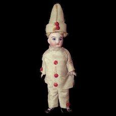 """5"""" 5/16 (13.5cm) Pretty French All Bisque Mignonette original Pierrot costume."""