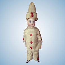 "5"" 5/16 (13.5cm) Pretty French All Bisque Mignonette original Pierrot costume."