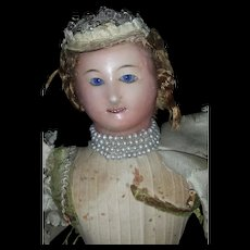 French Automaton Badminton player wax head  by Theroude.