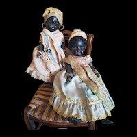 "Beautiful Black German Dolls "" Twins "" French Antilles original costume."