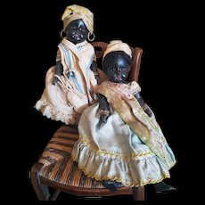 "Beautiful Black German Dolls "" Twins "" French Antilles original costume."