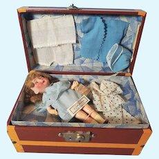 "8"" (20cm) Adorable Small Doll BEBE Fleischman 3/0 original Trunk Galeries Lafayette Paris."