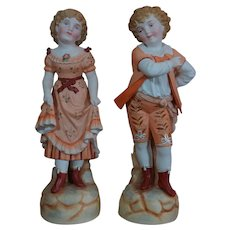 Lovely all-bisque couple of child statue figures Doll