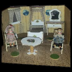 French Doll Room box with two all bisque mignonette.
