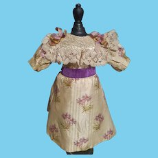 Luxury Antique dress for French BEBE Flower Pattern size  9 - 10.