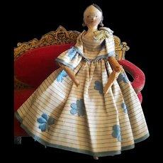 Pretty Early German Wooden Doll Grodnertal all original dress.