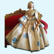 Pretty Early German Wooden Doll Grodnertal all original dress.