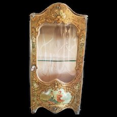 """Beautiful Antique Display showcase for Doll """" Vernis Martin """" finely decorated."""