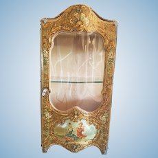 "Beautiful Antique Display showcase for Doll "" Vernis Martin "" finely decorated."