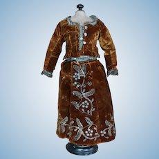 Beautiful gilt brown Silk velvet dress For French BEBE Embroidered Metal.