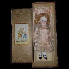 """8"""" 5/8 (22cm) Adorable Big Sized German All Bisque Doll Mignonnette Kestner Stunning dress."""