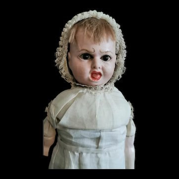 Interesting and unusual German wax  bebe character with double expression