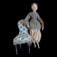 Pretty antique Grodnertal articulated wooden doll.