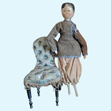 Pretty antique Grodnertal articulated wooden doll.