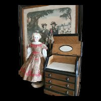 """Pretty wooden """"commode toilette"""" for Fashion doll size 3 or 4"""
