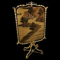 Seldom Seen French Gilded Fireplace Screen by Huret Japanese scenery.
