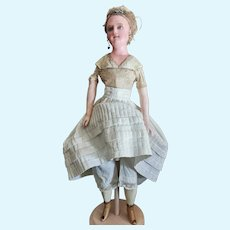 Pretty German wax doll by the Dressel firm in Sonneberg, arms and legs in papier mache covered with wax.