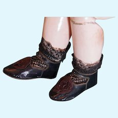 Outstanding high quality leather Shoes with uncommon Lace Socks PARIS BEBE PARIS DEPOSE Size 12.