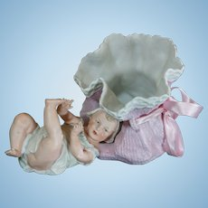 Cute little German Baby Candy box by Gebruder Heubach.