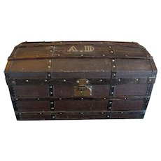Beautiful & Exceptional size Fashion Doll Trunk adorned with the little girl's initials.