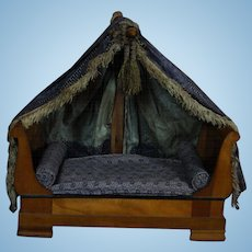 Adorable small French Canopy Bed for Early Doll & Canopy Bed Dolls | Ruby Lane