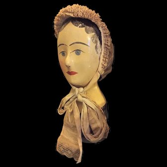 Very interesting Paper Mache Milliner Head Marotte.