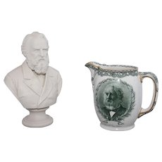 Two Longfellow pieces: 19th c. Parian bust plus a Royal Doulton pitcher with bust and poem related to Portland, Maine