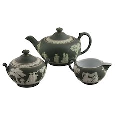 Dark green Wedgwood  3 piece tea set labeled Wedgwood England