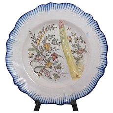 "Antique French faience Malicorne asparagus plate marked ""PBx"""