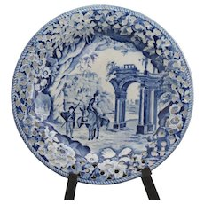 Rare antique blue Staffordshire reticulated (pierced) transferware; marked Clews Stone China with Clews Warranted incised mark