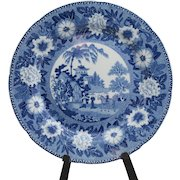 """Antique Rogers 9 1/2"""" dinner plate in Staffordshire blue transferware; Zebra pattern (not identified on back other than Rogers incised mark)"""