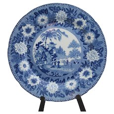 "Antique Rogers 9 1/2"" dinner plate in Staffordshire blue transferware; Zebra pattern (not identified on back other than Rogers incised mark)"