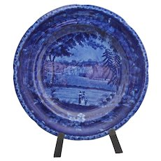 "Early dark blue transfer plate 9"" in diameter; great blue  mark on back ""Winslow Hall Leicestershire"""