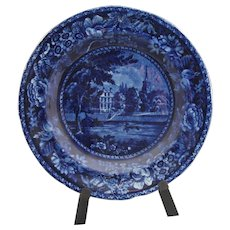 "Antique dark blue Staffordshire plate (8 1/2"") marked ""Fulham Church Middlesex, Picturesque Scenery, R Halls"""