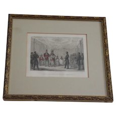 "19th c. hand colored lithograph: ""Lincoln Recevant Les Indiens Comanches""  (Lincoln Receiving the Comanches)"
