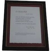 """O Crayola for John Updike"" limited edition poetry broadside by Joyce Carol Oates"